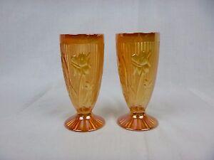 Pr Vtg Jeannette Carnival Iridescent Glass Footed Iced Tea Glasses Orange Lilies