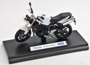 BLITZ VERSAND Triumph Street Triple weiss white Motorrad Modell 1:18 NEU & OVP
