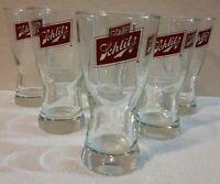 SET OF SIX (6) Vintage 1950's 8 Oz. SCHLITZ Draft Beer Glasses