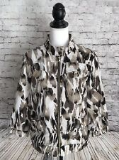 Chico's Zenergy Size 1 Animal Print Zip Up Jacket 3/4 Sleeve Stretch M 8 10