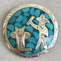 Vintage MEXICAN Turquoise Sterling Silver BROOCH & Pendant Women Signed Jewelry