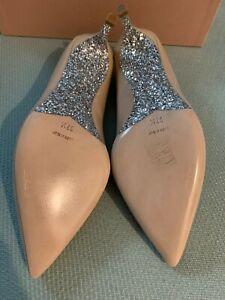 NEW 100%AUTH Miu Miu Blush Patent Silver Glitter Kitten Heels Pointed Pumps 37.5