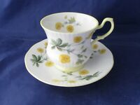 QUEEN'S STAFFORDSHIRE TEA CUP AND SAUCER - VINTAGE - ENGLAND - YELLOW FLOWERS