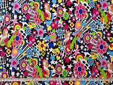 FQ brillante psicodélico Danza Niñas Corazones Amor Flores Tela Hippie 80S Retro