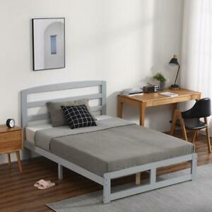 Bed Solid Wooden Bed Frame with Headboard and Footboard 4FT6 Kids Adult UK