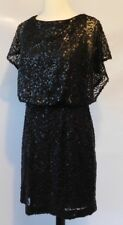 JESSICA SIMPSON Womens Black Formal Sequin Party Dress V Back Style Size 8