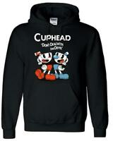 Teacup Cuphead Mugman Game Black Printed Hooded Jacket Sweater Hoodie Costume