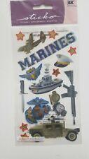 Scrapbooking Stickers Crafts Sticko Marines Ship Emblems Plane Gun Hat Vehicle