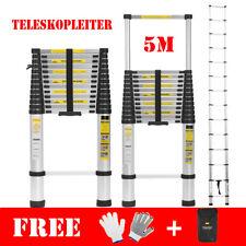 5m Teleskopleiter Mehrzweckleiter Aluleiter Anlegeleiter Aluminum Stehleiter Neu