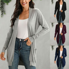 Women Solid Lightweight Open Front Long Knited Cardigan Sweater Casual Fall Coat