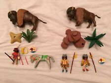 Vintage Playmobil Western Indian Hunting Buffalo Bison Sets #3731 and #3874