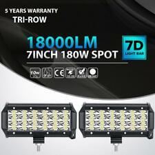 "Pair 7""inch 180W Tri Row LED Light Bar Spot Pods Offroad Driving Fog Lamp ATV 6"