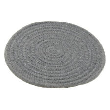 Cotton Braided Placemats 24cm Dia. Round Pad Coaster Thermal Insulation Grey