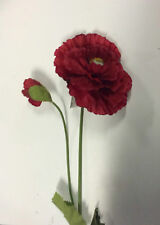 3 New Stems Red Giant Double Poppy & Bud Artificial Silk Flowers 32in Tall