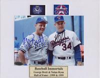 Nolan Ryan George Brett Autographed 5x7 Photo on 8x10 Mat COA Signed Rangers