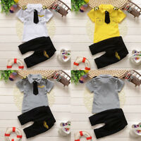 Newborn Infant Kids Baby Boy Gentleman Tie Tops T-shirt+Pants 2PCS Outfit Set UK