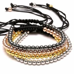 Men Women 18K Braided Macrame Bracelet Bangle 4MM Balls Beads Charm Jewelry Hot