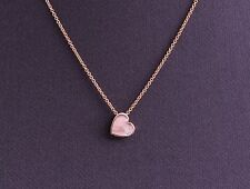 Round Diamond Bezel Heart Pendant Solitaire in 14k Rose Gold Necklace