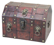 New Vintiquewise Antique Wooden Pirate Chest with Lion Rings and Lockable Latch