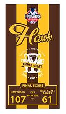 Hawthorn Hawks AFL Premiership 2015 Beach | Pool Bath Towel | MCG | Three x Peat