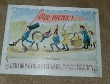1890s Trade Card Lebanon (Pa) Cycle Exchange Bicycle Motorcycle
