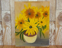 1969 Floral Still Life Original Oil Painting Yellow Flowers in Jug Vase R McLeod