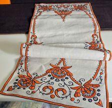 Antique Arts & Crafts Hand Embrdoidered Linen Runner  VV779