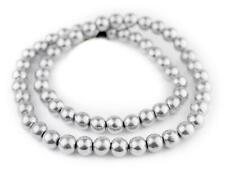 Round Aluminum Beads 10mm Silver 24 Inch Strand