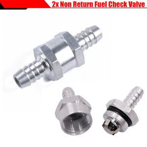 New 2Pcs 6mm Fuel Non Return One Way Check Valve Petrol Diesel Silver Aluminium