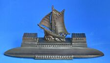Vintage French Spelter Pen Stand with Double Ink Wells - Sailing Ship Centre