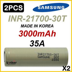 2x Samsung 30T INR 30T 21700 3000mAh 35Amp Lithium Li-Ion rechargeable batteries