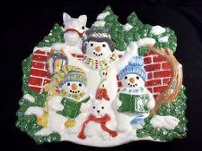 Fitz & Floyd Essentials 3D plate The Flurries Snowman carolers horse Christmas