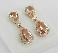 18K Rose Gold Finish 6 ct Morganite & Diamond Halo Drop Dangle Earrings Gemstone