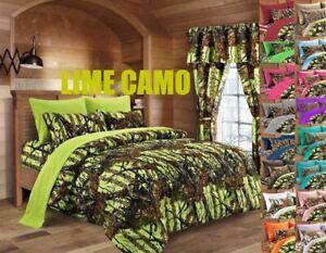 CAL KING LIME CAMO!!! 1 PC COMFORTER MICROFIBER WOODS CAMOUFLAGE BLANKET