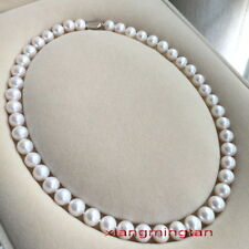 """AAAAA 18""""9-10mm Natural south sea perfect round WHITE pearl necklace 14K GOLD"""