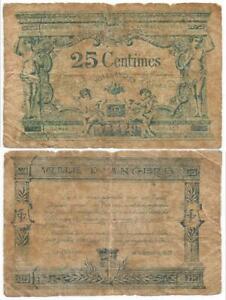 """1917 FRANCE World War I """"VILLE D ANGERS"""" 25 Centimes CITY MUNICIPAL Note NOTGELD"""
