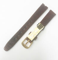 Time Fashion Original 13mm Genuine Leather Brown Tone Gold Buckle Watch Band