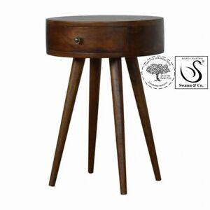 Nordic Chestnut Circular Shaped Bedside/Side Table