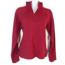 Mountain Hardwear Womens S/M Sweater Raspberry Red Mock V-neck Poly Wool Blend