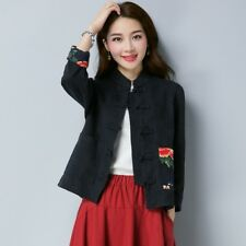 Women Flower Embroidery Jacket Chinese Cotton Linen Coat Baggy Casual Vintage