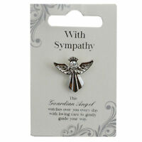 With Sympathy Silver Coloured Angel Pin With Gem Stone Sentimental Gift Idea