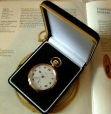 Pocket Watch Box Antique Style Large Black Velvet & Gold With Recessed Base