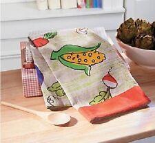 Vegetable Garden Cotton Hand Towel Corn Veggie Red Trim Kitchen Towel