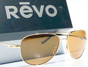 NEW* REVO Windspeed GOLD 61mm AVIATOR POLARIZED Bronze lens Sunglass 3087 400 BR