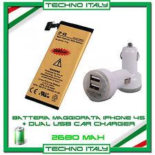 BATTERIA GOLD MAGGIORATA per iPhone 4S 2680 mAh + Dual USB Car - ZERO CICLI