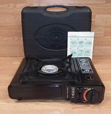 Unbranded Black Portable Single Burner Camping Gas Stove w/ Carrying Case Bundle