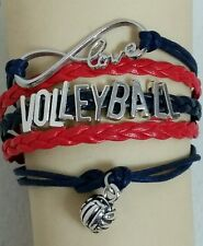 VOLLEYBALL LEATHER CHARM BRACELET RED & NAVY BLUE ADJUSTABLE -SPORTS #182