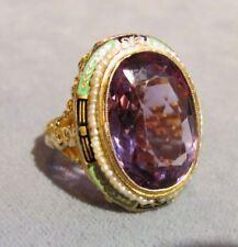 Antique 14K Gold Amethyst Seed Pearl Enamel Ring Circa 1930