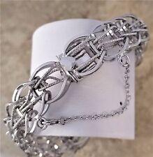Vintage Elco Sterling Silver 925 Charm Bracelet, Wide and Bold! Fantastic!