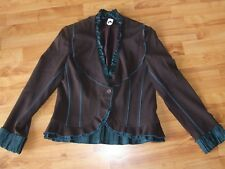 Chocolate & Teile Curved Winter Jacket -Lined, Frill Edging Size 36 'VEX' AS NEW